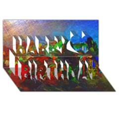 Chicago Park Painting Happy Birthday 3d Greeting Card (8x4)  by bloomingvinedesign
