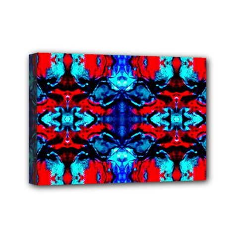 Red Black Blue Art Pattern Abstract Mini Canvas 7  x 5  by Costasonlineshop