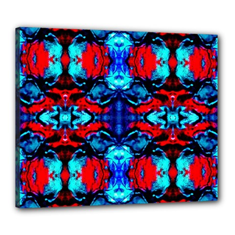 Red Black Blue Art Pattern Abstract Canvas 24  X 20  by Costasonlineshop