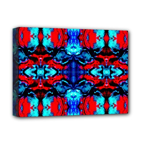 Red Black Blue Art Pattern Abstract Deluxe Canvas 16  x 12   by Costasonlineshop
