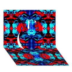 Red Black Blue Art Pattern Abstract Apple 3d Greeting Card (7x5)  by Costasonlineshop