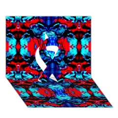 Red Black Blue Art Pattern Abstract Ribbon 3d Greeting Card (7x5)  by Costasonlineshop