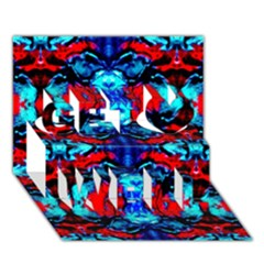 Red Black Blue Art Pattern Abstract Get Well 3d Greeting Card (7x5)  by Costasonlineshop