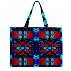 Red Black Blue Art Pattern Abstract Zipper Tiny Tote Bags by Costasonlineshop