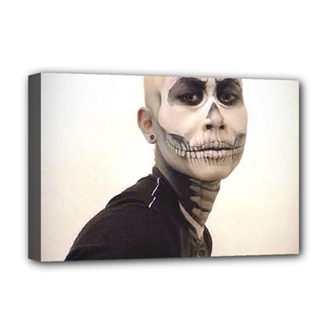 Halloween Skull And Tux  Deluxe Canvas 18  x 12   by KentChua