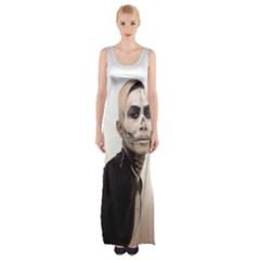 Halloween Skull And Tux  Maxi Thigh Split Dress by KentChua
