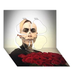 Halloween Skull Tux And Roses  Clover 3d Greeting Card (7x5)  by KentChua