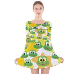 Cute Frog Family Whimsical Long Sleeve Velvet Skater Dress by CircusValleyMall