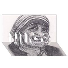 Mother Theresa  Pencil Drawing Hugs 3d Greeting Card (8x4)  by KentChua