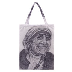 Mother Theresa  Pencil Drawing Classic Tote Bags by KentChua