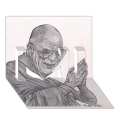 Dalai Lama Tenzin Gaytso Pencil Drawing I Love You 3d Greeting Card (7x5)  by KentChua