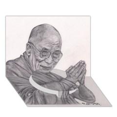 Dalai Lama Tenzin Gaytso Pencil Drawing Circle Bottom 3d Greeting Card (7x5)  by KentChua