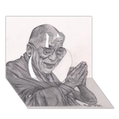 Dalai Lama Tenzin Gaytso Pencil Drawing Apple 3d Greeting Card (7x5)  by KentChua