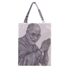Dalai Lama Tenzin Gaytso Pencil Drawing Classic Tote Bags by KentChua
