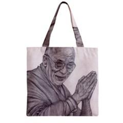 Dalai Lama Tenzin Gaytso Pencil Drawing Zipper Grocery Tote Bags by KentChua