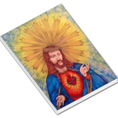 Scared Heart Of Jesus Christ Drawing Large Memo Pads by KentChua