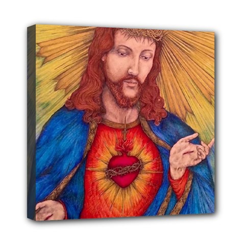 Sacred Heart Of Jesus Christ Drawing Mini Canvas 8  X 8  by KentChua