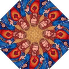 Sacred Heart Of Jesus Christ Drawing Golf Umbrellas by KentChua