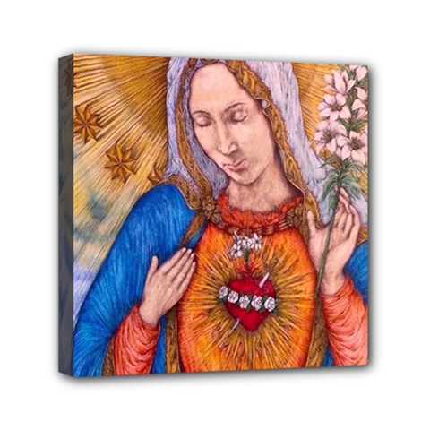 Immaculate Heart Of Virgin Mary Drawing Mini Canvas 6  X 6  by KentChua