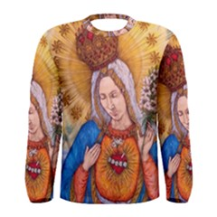 Immaculate Heart Of Virgin Mary Drawing Men s Long Sleeve Tee by KentChua