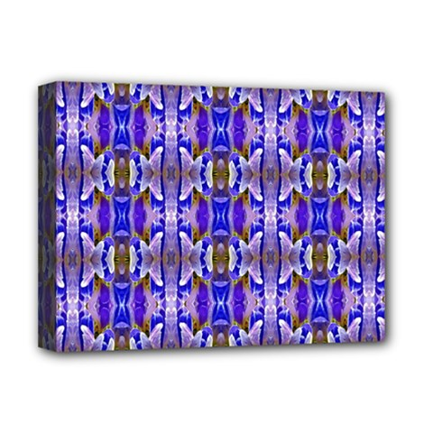 Blue White Abstract Flower Pattern Deluxe Canvas 16  x 12   by Costasonlineshop