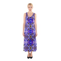 Blue White Abstract Flower Pattern Full Print Maxi Dress