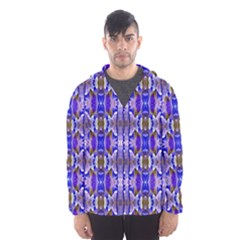Blue White Abstract Flower Pattern Hooded Wind Breaker (men) by Costasonlineshop