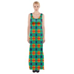 Squares in retro colors pattern Maxi Thigh Split Dress by LalyLauraFLM
