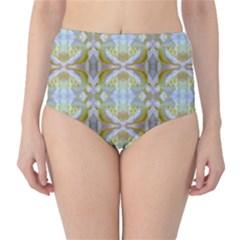 Beautiful White Yellow Rose Pattern High Waist Bikini Bottoms by Costasonlineshop