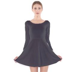 Carbon Fiber Graphite Grey And Black Woven Steel Pattern Long Sleeve Velvet Skater Dress by PaperandFrill