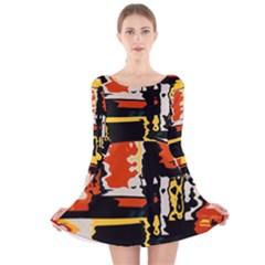 Distorted Shapes In Retro Colors Long Sleeve Velvet Skater Dress by LalyLauraFLM