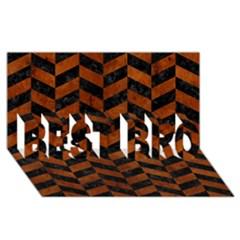 Chevron1 Black Marble & Brown Burl Wood Best Bro 3d Greeting Card (8x4) by trendistuff