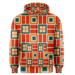 Squares And Rectangles In Retro Colors Men s Zipper Hoodie by LalyLauraFLM