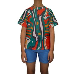 Retro colors chaos  Kid s Short Sleeve Swimwear by LalyLauraFLM