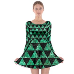 Triangle3 Black Marble & Green Marble Long Sleeve Skater Dress by trendistuff