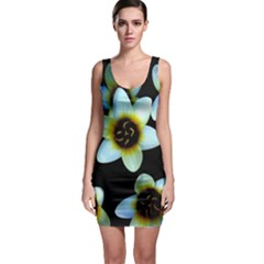 Light Blue Flowers On A Black Background Sleeveless Bodycon Dress by Costasonlineshop