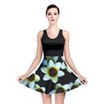Light Blue Flowers On A Black Background Reversible Skater Dress
