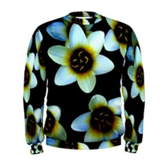 Light Blue Flowers On A Black Background Men s Sweatshirt by Costasonlineshop