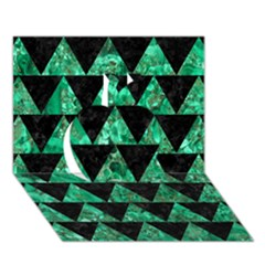 Triangle2 Black Marble & Green Marble Apple 3d Greeting Card (7x5) by trendistuff