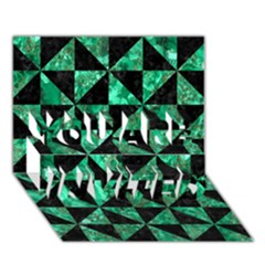 Triangle1 Black Marble & Green Marble You Are Invited 3d Greeting Card (7x5) by trendistuff