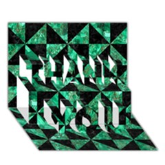 Triangle1 Black Marble & Green Marble Thank You 3d Greeting Card (7x5) by trendistuff