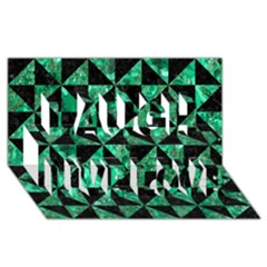Triangle1 Black Marble & Green Marble Laugh Live Love 3d Greeting Card (8x4) by trendistuff