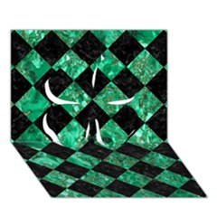 Square2 Black Marble & Green Marble Clover 3d Greeting Card (7x5) by trendistuff