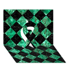 Square2 Black Marble & Green Marble Ribbon 3d Greeting Card (7x5) by trendistuff