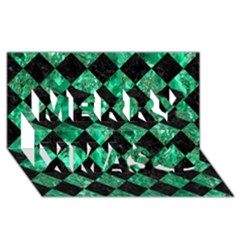 Square2 Black Marble & Green Marble Merry Xmas 3d Greeting Card (8x4) by trendistuff