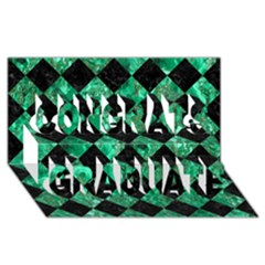 Square2 Black Marble & Green Marble Congrats Graduate 3d Greeting Card (8x4) by trendistuff