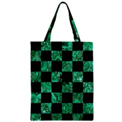 Square1 Black Marble & Green Marble Zipper Classic Tote Bag by trendistuff