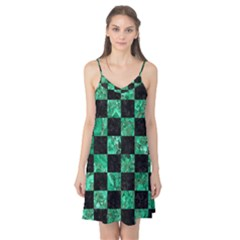 Square1 Black Marble & Green Marble Camis Nightgown  by trendistuff