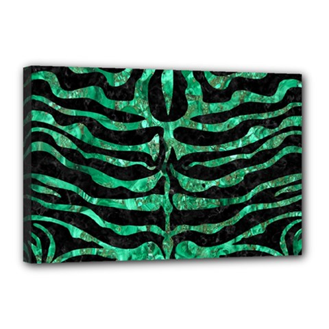 Skin2 Black Marble & Green Marble (r) Canvas 18  X 12  (stretched) by trendistuff