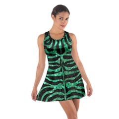 Skin2 Black Marble & Green Marble (r) Cotton Racerback Dress